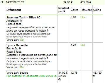 Ticket de paris combinés gagnants sur Unibet.com